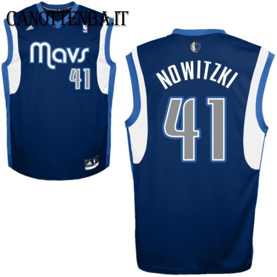 Maglia NBA Dallas Mavericks NO.41 Dirk Nowitzki Azul Profundo