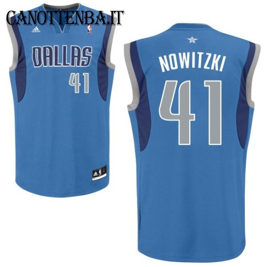 Maglia NBA Dallas Mavericks NO.41 Dirk Nowitzki Azul