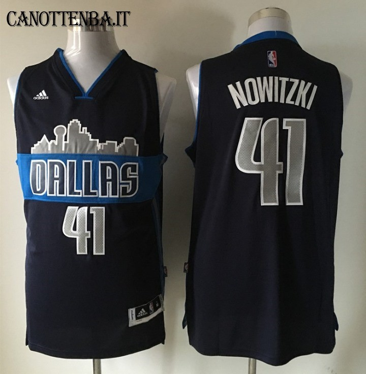 Maglia NBA Dallas Mavericks NO.41 Dirk Nowitzki Nero