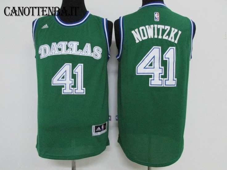 Maglia NBA Dallas Mavericks NO.41 Dirk Nowitzki Verde