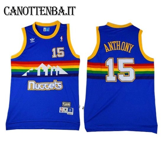 Maglia NBA Denver Nuggets NO.15 Carmelo Anthony Azul