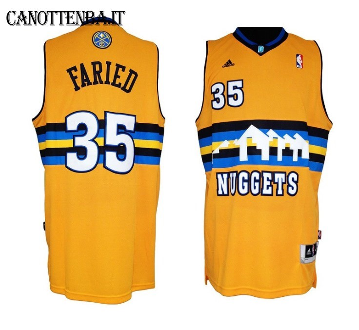 Maglia NBA Denver Nuggets NO.35 Kenneth Faried Giallo