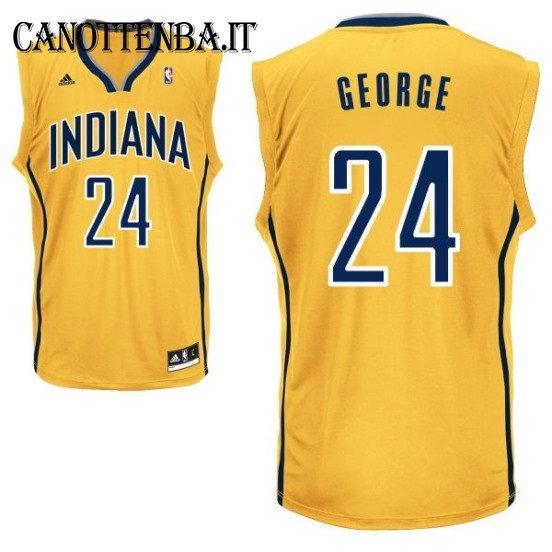 Maglia NBA Indiana Pacers NO.24 Paul George Giallo