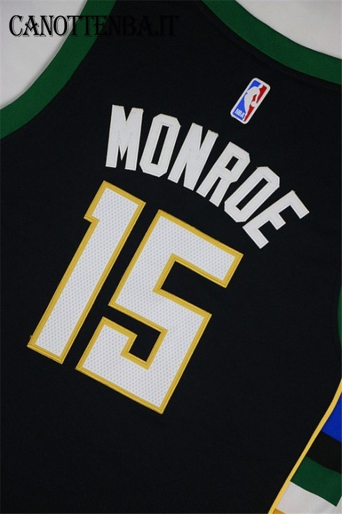 Maglia NBA Milwaukee Bucks NO.15 Greg Monroe Nero