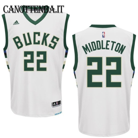 Maglia NBA Milwaukee Bucks NO.22 Khris Middleton Bianco