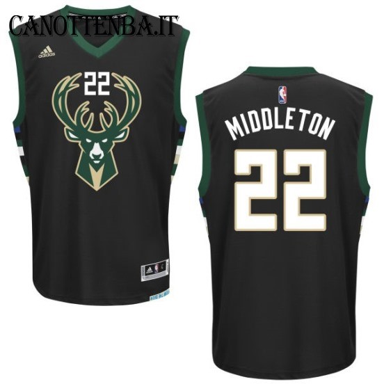 Maglia NBA Milwaukee Bucks NO.22 Khris Middleton Nero