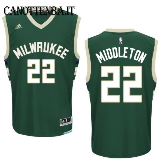 Maglia NBA Milwaukee Bucks NO.22 Khris Middleton Verde