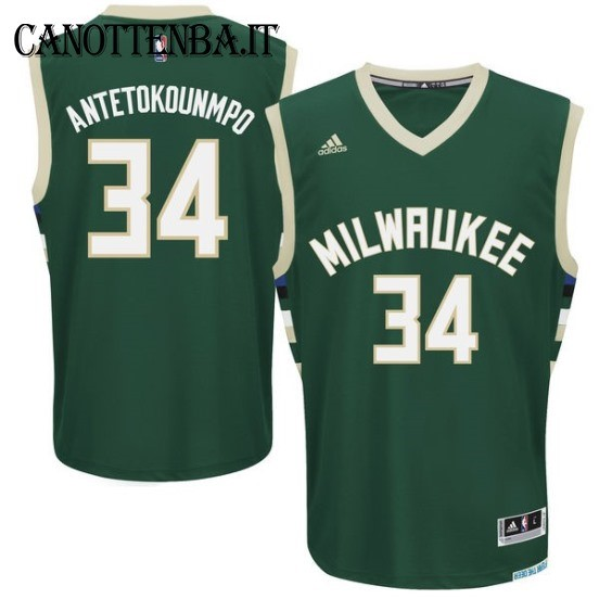 Maglia NBA Milwaukee Bucks NO.34 Giannis Antetokounmpo Verde