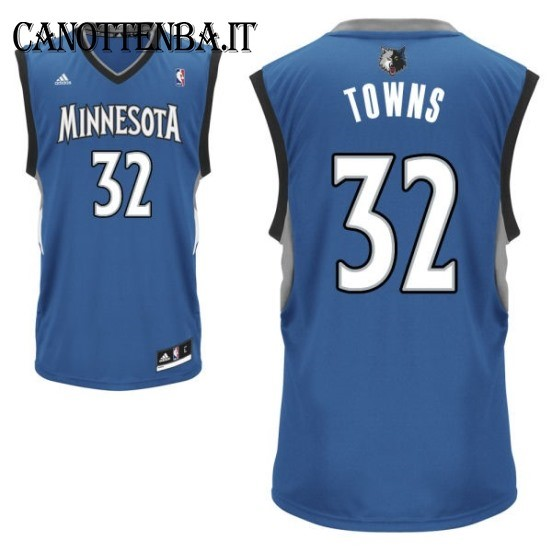 Maglia NBA Minnesota Timberwolves NO.32 Karl Anthony Towns Azul
