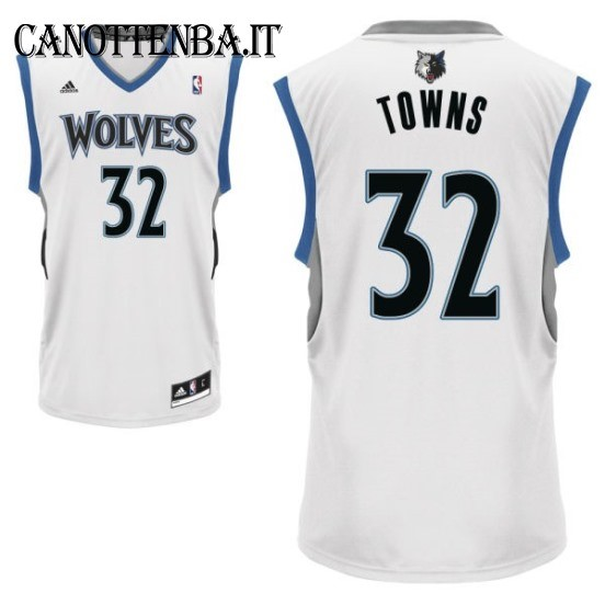 Maglia NBA Minnesota Timberwolves NO.32 Karl Anthony Towns Bianco