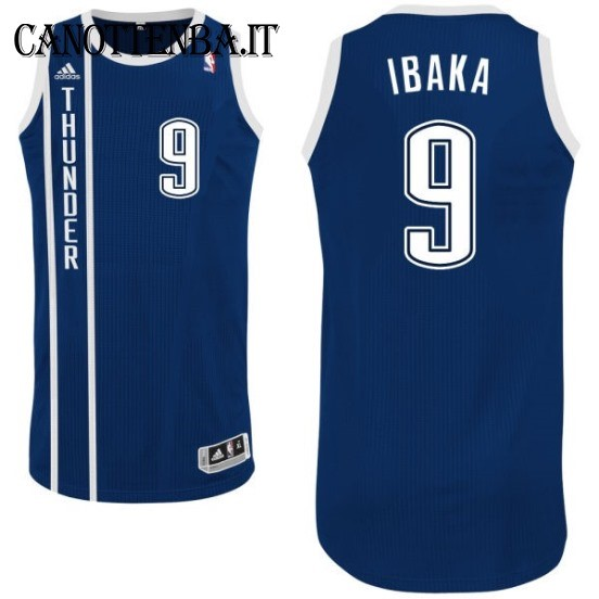 Maglia NBA Oklahoma City Thunder NO.9 Serge Ibaka Retro Azul